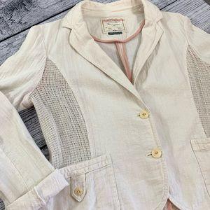 Anthropologie, Cartonnier, crop blazer, 12, linen